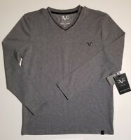Men's Versace 19V69 Italy Long Sleeve VNeck Gray Shirt SM ABBIGLIAMENTO NWT FAST