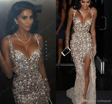 New Crystal Long Formal Evening Dress Beaded Celebrity Cocktail Party Prom Gown