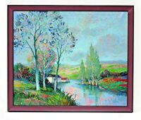 Country Stream Orchard Farm 20 x 24 Art Oil Painting on Canvas w/ Wood Frame