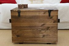 Caja de madera shabby chic carga vintage Aparador transporte Mesita baja marrón