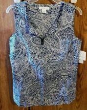 Liz Claiborne Navy & White Geometric Sleeveless Blouse Size Medium. New W/Tags