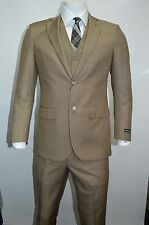 Men's Beige 3 Piece 2 Button Slim Fit Suit SIZE 46R NEW