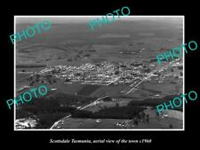 OLD POSTCARD SIZE PHOTO OF SCOTTSDALE TASMANIA AERIAL VIEW OF THE TOWN c1960
