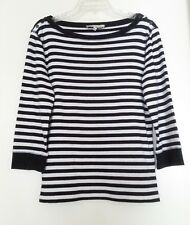Jones New York Sport Black White Stripe Top Size Large Knit 3/4 Sleeve Shirt