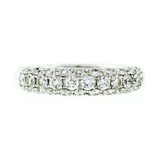 Fancy 18K White Gold 1.15ctw Round Pave Diamond 4.75mm Domed Wedding Band Ring