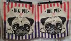 "(2) Hug Pug/Dogs Canvas/Burlap Zip-Top Tote/Carry/Storage Bags--Beige/Black--17"""