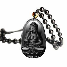 Black Natural Obsidian Buddha Bead Necklace Chain Transhipped Lucky Jewelry