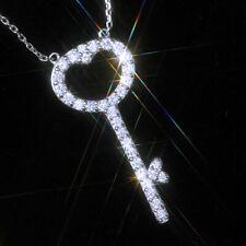 Elegant Love Key 925 Silver Necklace Pendant Women White Sapphire Jewlery Gift