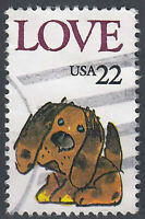 USA Briefmarke gestempelt 22c Love Hund / 128