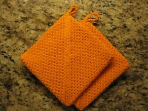 HOT Pad POT HOLDER Set Handmade Gift Housewarming Orange Set of 2