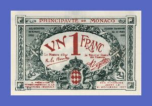 MONACO - 1 Franc 1920s Overprint 1922s - Reproductions