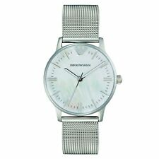 Emporio Armani Ladies watch AR1631 silver mesh strap mother of pearl watch face