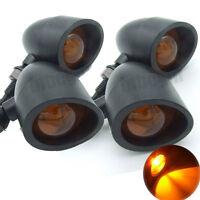 4x Universal Black Metal Bullet Motorcycle Turn Signal Indicator Amber Lights
