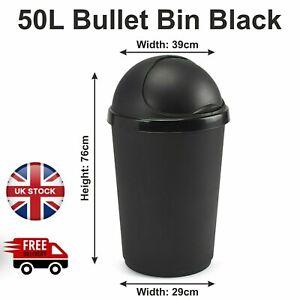 50 Litre Plastic Bullet Bin With Lid Waste Rubbish Dust Bin Kitchen Office Shops