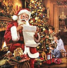 2 single paper napkins for Decoupage New Year Christmas gifts Santa Fireplace