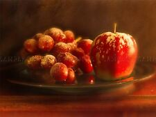 obst stilleben vintage dusted apfel beeren essen photo print poster bmp804a