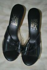 New listing Vintage 1960s Black Sandals Wood Heel Hawaiian Island Slipper sz 7