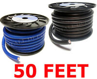50 FT - PREMIUM 0 GAUGE BLUE & BLACK POWER + GROUND WIRE CABLE 1/0 AWG CAR AUDIO