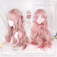 Wig Cosplay Curly Japanese Sweet Lolita Harajuku Pink Red Gradient Princess Cute