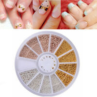 3D 3 Color Mixed Metal Ball Beads Nail Art Tips Manicure Charm DIY Decoration
