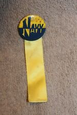 Original WW2 Home Front U.S. NAVY Metal Button with Ribbon, Pin Back