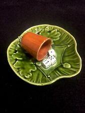 Ant. Majolica Trompe L'Oeil Dice & Cup/ Acorn Leaf Dish