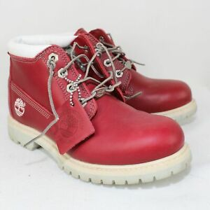 Timberland Ladies Red/White Leather Nellie Chukka Boots Size 7