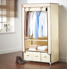 Single Canvas Effect Wardrobe With Drawers Material Guest Room Storage Fabric