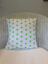 """Cushion Cover, White, Lime Green, Polka Dots, Spots, Fun, Light Weight. 14"""""""