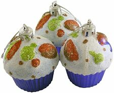 Cupcake Ornaments, Set of 3 Christmas Tree Glittery Bauble Decorations - Purple