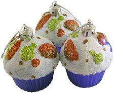 Cupcake Adornos, Set of 3 árbol de Navidad Purpurina Bola Decoración - Lila
