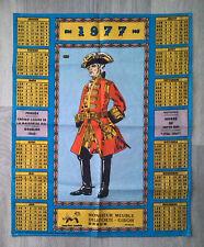 ancien calendrier en tissu monsieur meuble 1977 Chevau-léger de la Garde du roi