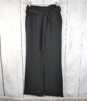 ISABELLA OLIVER Wide Leg Dress Pants 3 Black Waist Cuffed Adjustable Maternity