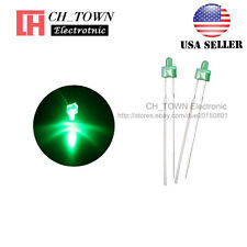 100pcs 2mm Diffused LED Diodes Green Color Green Light DIP Round Top USA