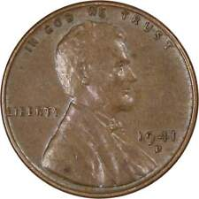 1941 D 1c Lincoln Wheat Cent Penny US Coin Average Circulated