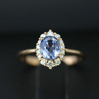 Solide 14K or Jaune 2.30 CT Ovale Superbe Diamant Saphir Bleu Anneau Taille M N