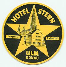 ULM DONAU GERMANY HOTEL STERN VINTAGE LUGGAGE LABEL