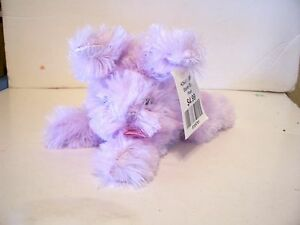 PURPLE PLUSH FLUFFY EASTER BUNNY RABBIT WITH SHEER PINK BOW DECORATION SPRING