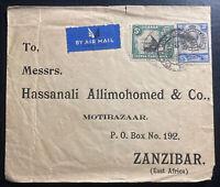 1936 Tanga Tanganyika British KUT Airmail Commercial Cover to Zanzibar