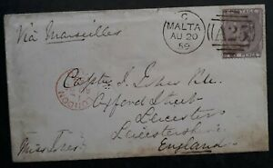 RARE 1859 Malta Cover ties 6d QV stamp Malta A25 cds to Leicester