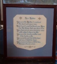 Our Mother Wed your Son Completed Cross Stitch The Day I Wed your Son