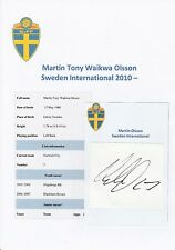 MARTIN OLSSON SWEDEN INTERNATIONAL 2010- ORIGINAL HAND SIGNED CUTTING/CARD