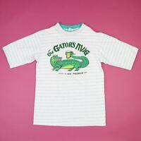 Vtg 90s The Gators Mug Bar T-Shirt MEDIUM Striped Barrel Sleeve Grunge Cicero NY