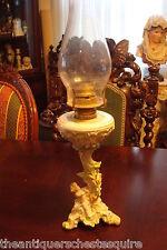 Oil Lamp, c1890s, Meissen/ Dresden encrusted flowers and cherub, ELDORADO Burner