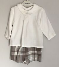 Calamaro Spanish Design Baby Outfit ShirtCheck Shorts Size 3-6 Months