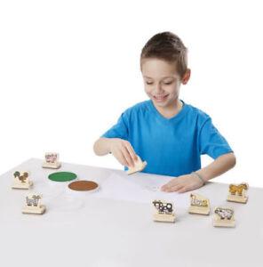 NEW My First Wooden Stamp Set   Farm Animals   Display Box   Kid Friendly Ink