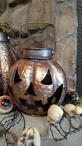"NWT 8.5"" Rustic Orange Wash Galvanized Metal Jack O Lantern HALLOWEEN PROP Decor"