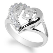 15 Quinceanera 925 Sterling Silver Ring w/ White Gold Plating CZ size 4-10 heart