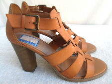 """REPORT..""""REBECKA""""..STRAPPY..BROWN..LEATHER..HEELS..NEW..sz 10"""