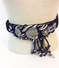Boho Southwestern Belt Vintage Rebecca Tassel Cloth Beaded Nylon Black Silver